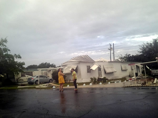 Damage from storm on 09 Jan 2014 in Hobe Sound at Woodbridge Mobile Village